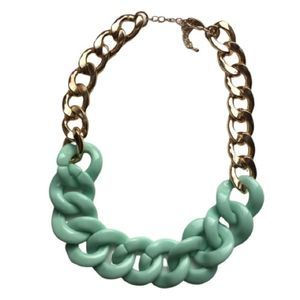 Jewelry - Vintage | Chunky Teal & Gold Metal Necklace
